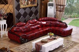 B010 Red Leather Sectional Sofa