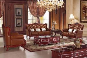 B185 3-Seater Leather Sofa Set