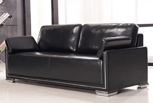 Reception Black Leather Sofa