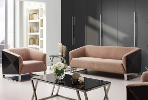 Modern Fabric and Leather Sofa Set
