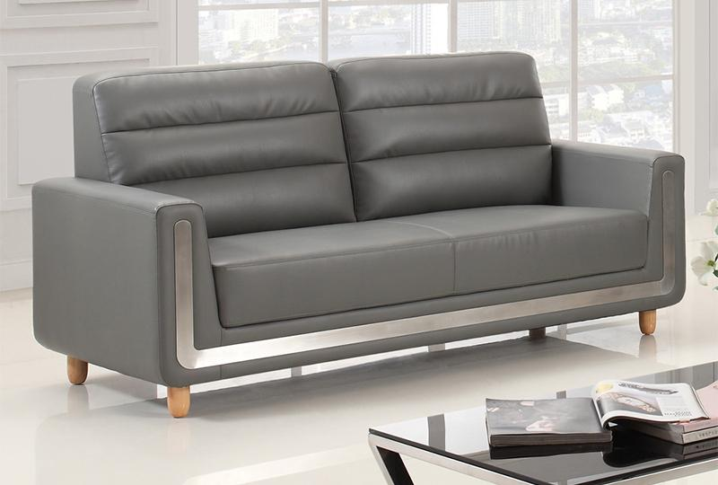 Modern Grey Leather Office Sofa