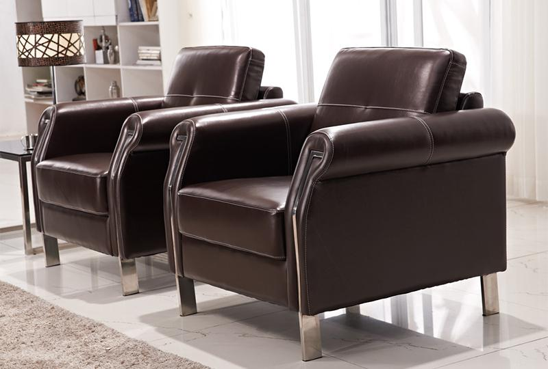 Brown Leather Office Sofa Set